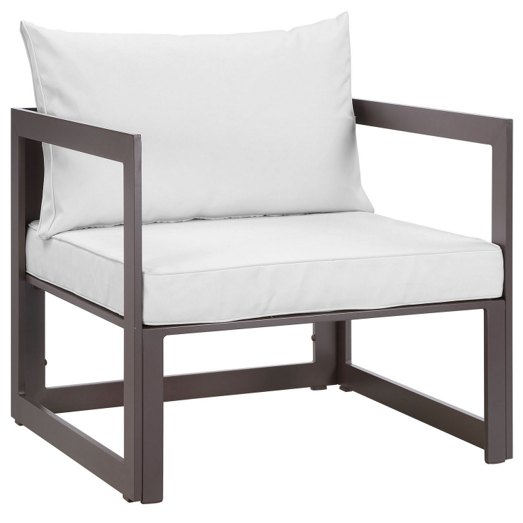 Fortuna Outdoor Patio Armchair - Brown/White