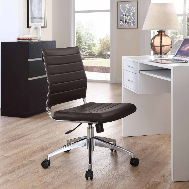Jive Armless Mid Back Office Chair - Brown