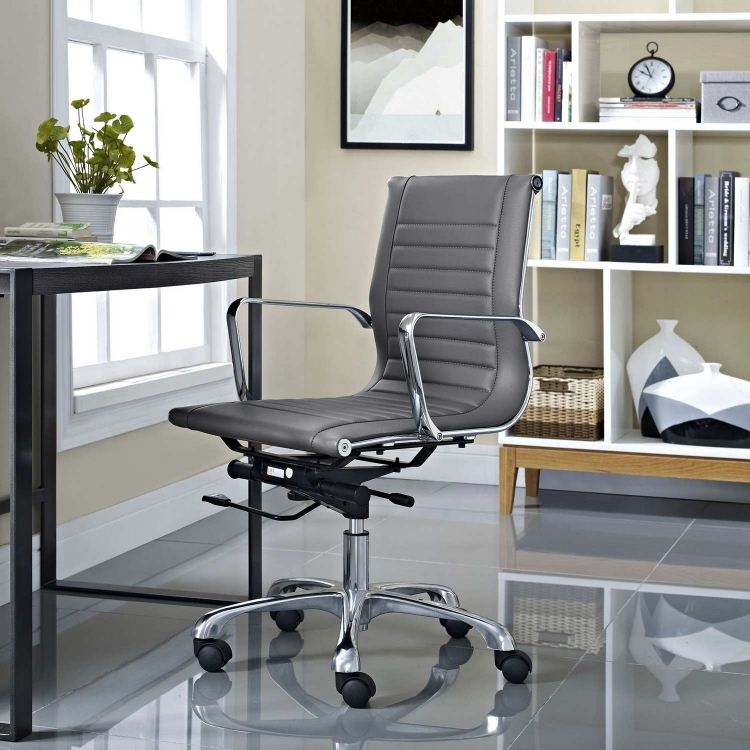 Runway Mid Back Office Chair - Gray