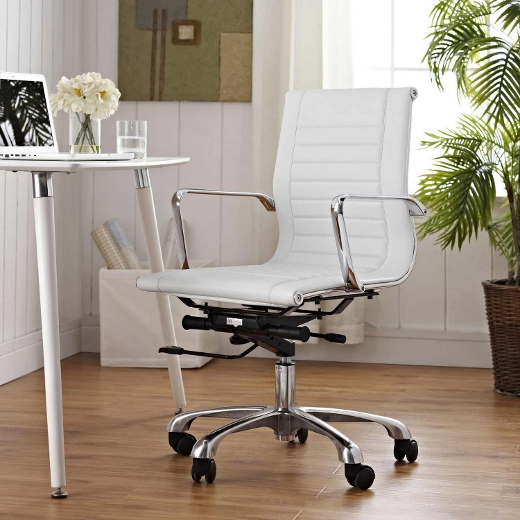 Runway Mid Back Office Chair - White