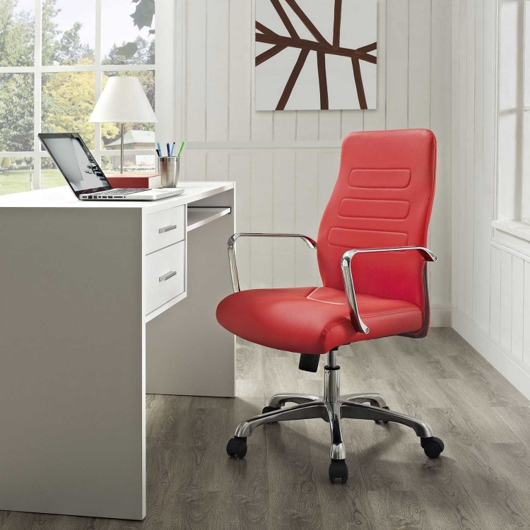 Depict Mid Back Aluminum Office Chair - Red