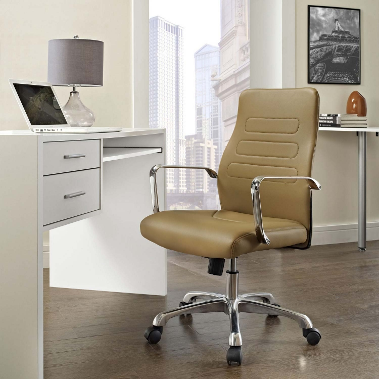 Depict Mid Back Aluminum Office Chair - Tan