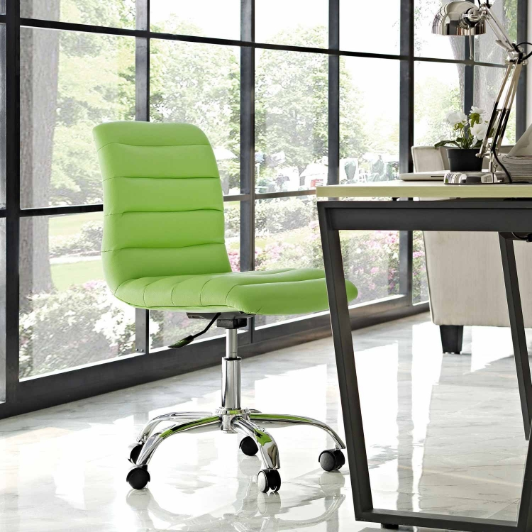 Ripple Armless Mid Back Office Chair - Bright Green