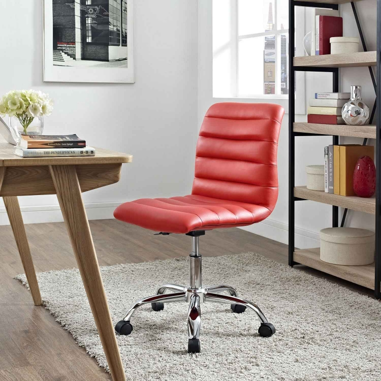 Ripple Armless Mid Back Office Chair - Red