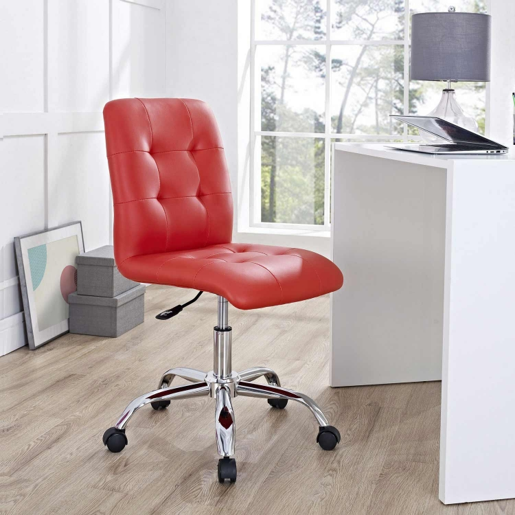 Prim Armless Mid Back Office Chair - Red