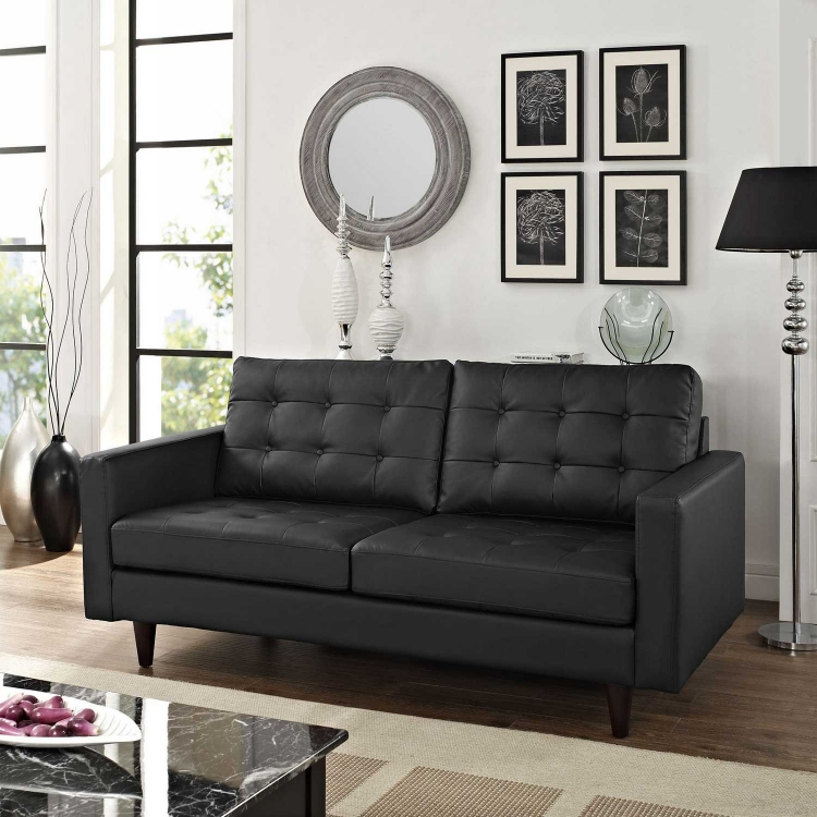 Empress Bonded Leather Loveseat - Black