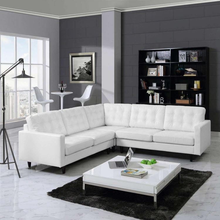 Empress 3 Piece Leather Sectional Sofa Set - White