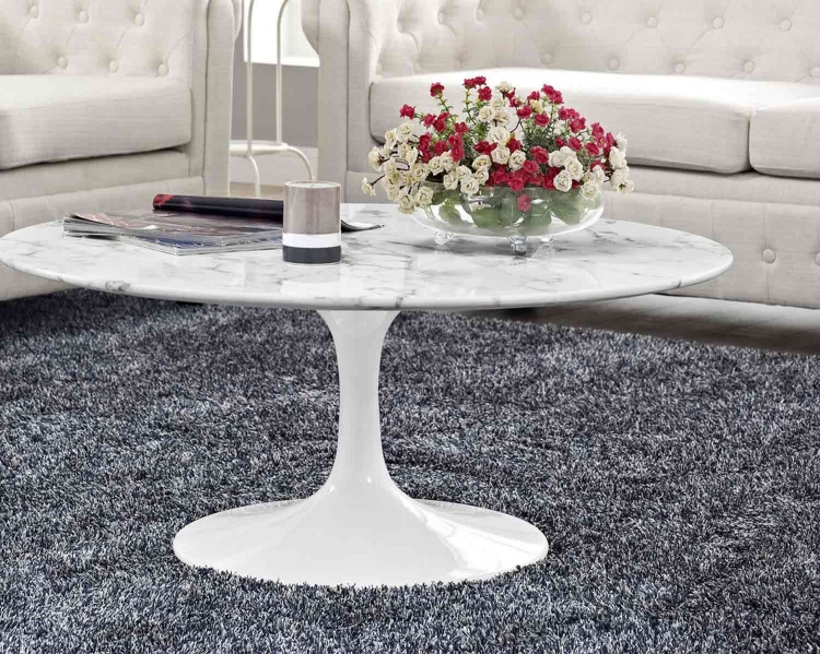 Lippa 40 Marble Coffee Table - White