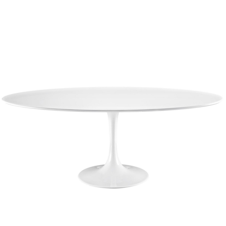 Lippa 78 Wood Top Dining Table - White