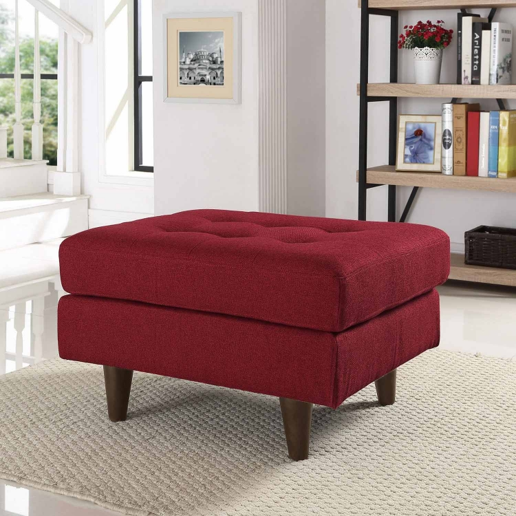 Empress Upholstered Ottoman - Red