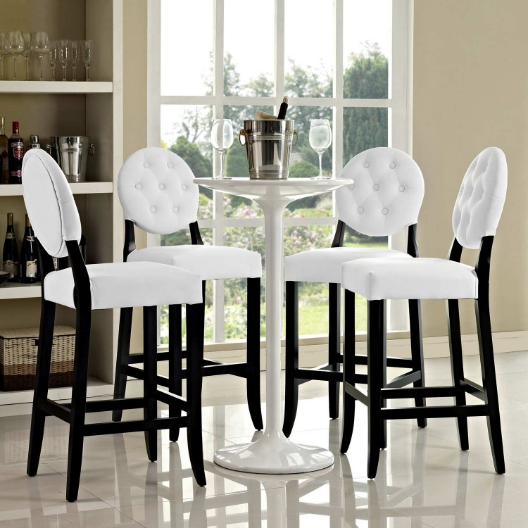 Button Bar Stool Set of 4 - White