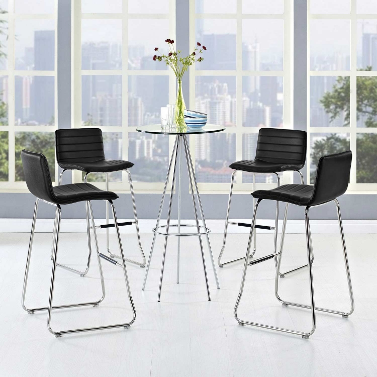 Dive Bar Stool Set of 4 - Black