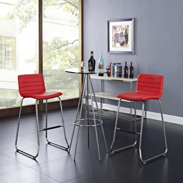 Dive Bar Stool Set of 2 - Red