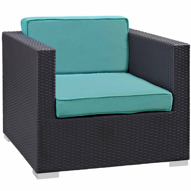 Gather Outdoor Patio Armchair - Espresso/Turquoise