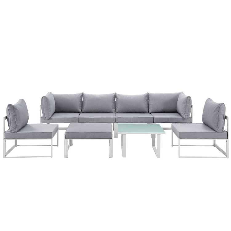 Fortuna 8 Piece Outdoor Patio Sectional Sofa Set - White/Gray