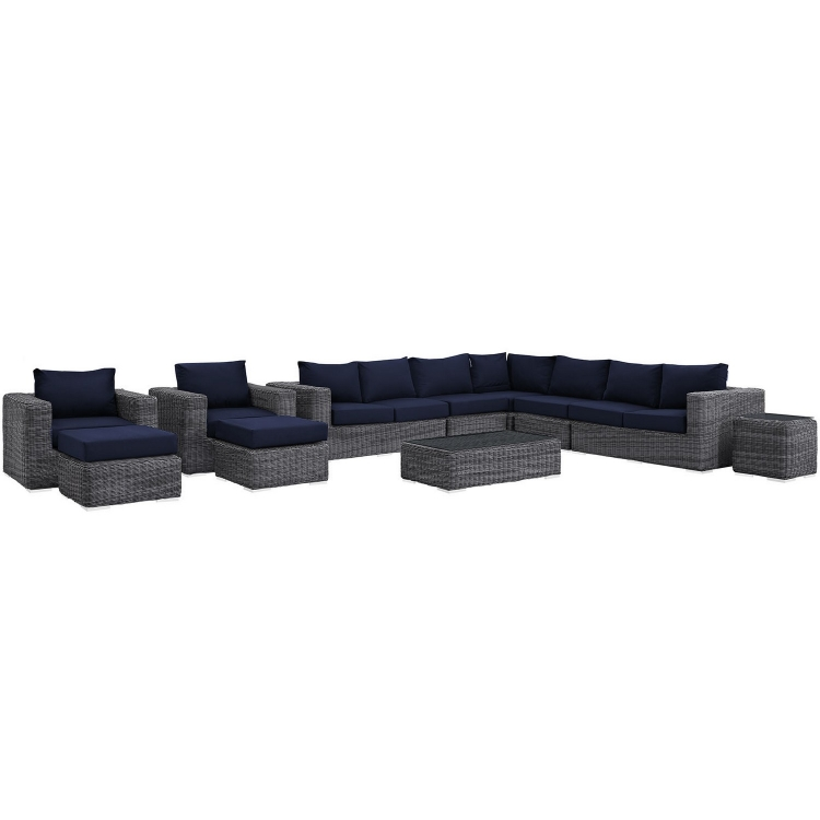 Summon 11 Piece Outdoor Patio Sunbrella Sectional Set - Canvas Navy