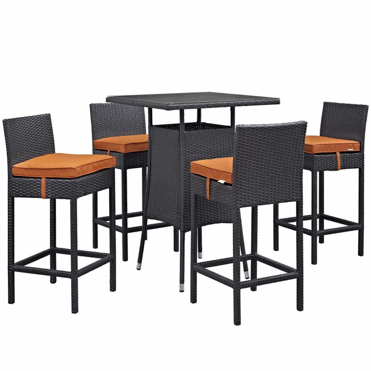 Convene 5 Piece Outdoor Patio Pub Set - Espresso Orange