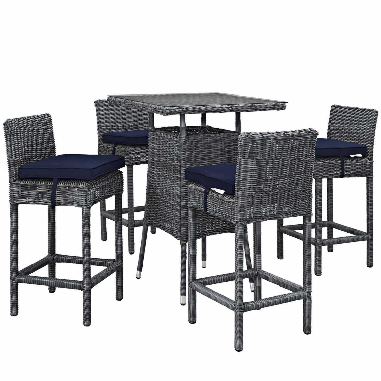Summon 5 Piece Outdoor Patio Sunbrella Pub Set - Canvas Navy