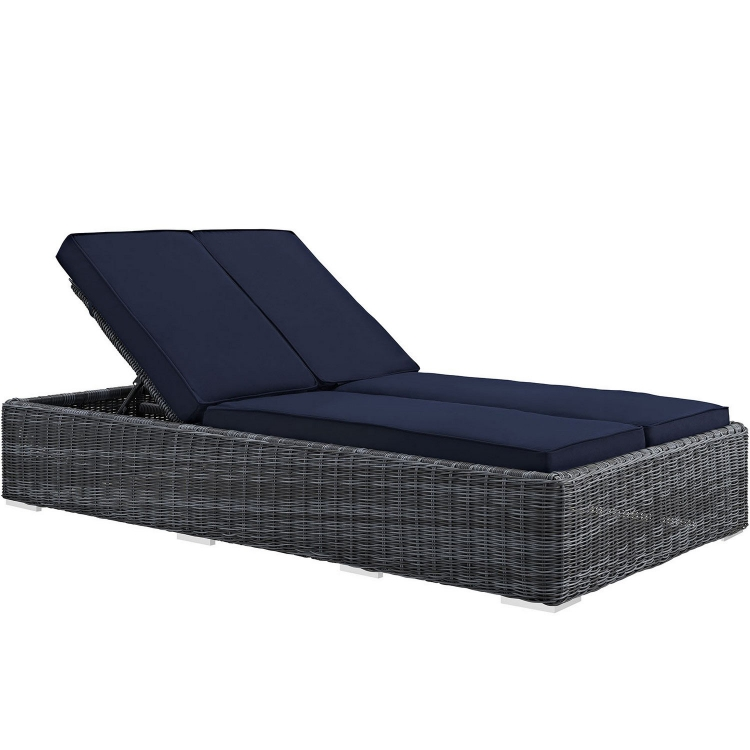 Summon Double Outdoor Patio Sunbrella Chaise - Navy