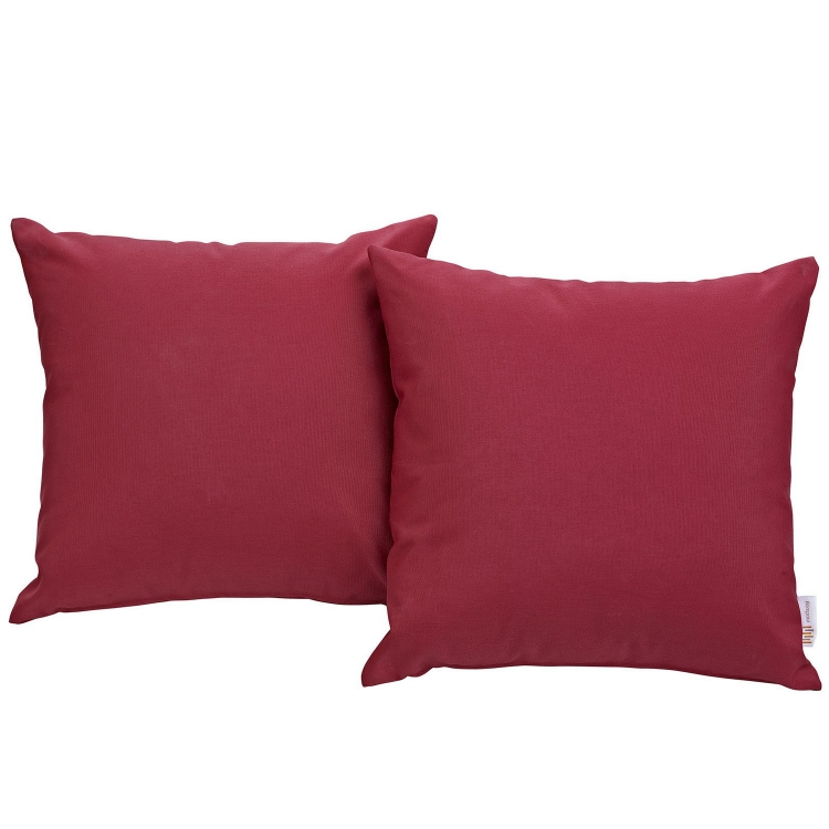 Convene Two Piece Outdoor Patio Pillow Set - Red