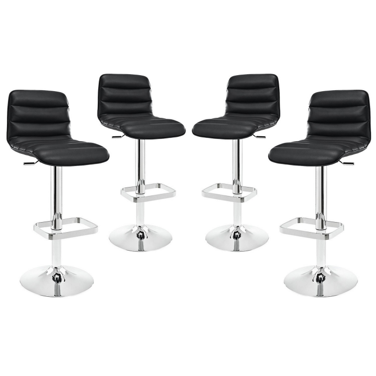 Ripple Bar Stool Set of 4 - Black