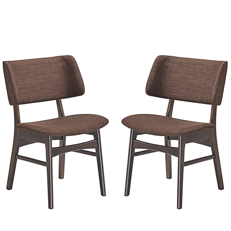 Vestige Dining Side Chair Fabric Set of 2 - Walnut Mocha