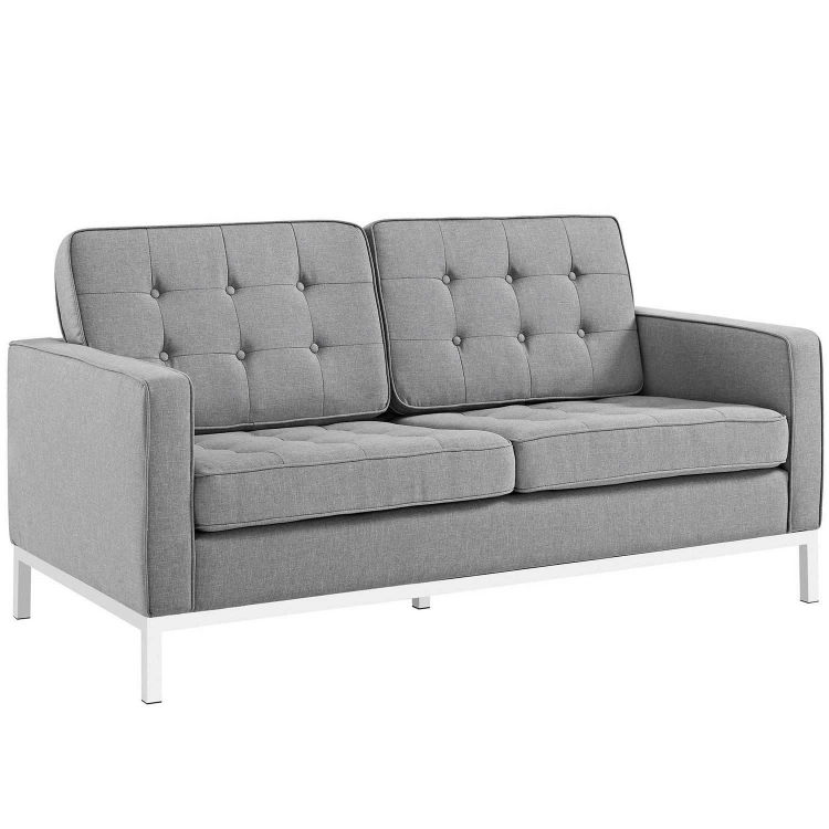 Loft Fabric Loveseat - Light gray
