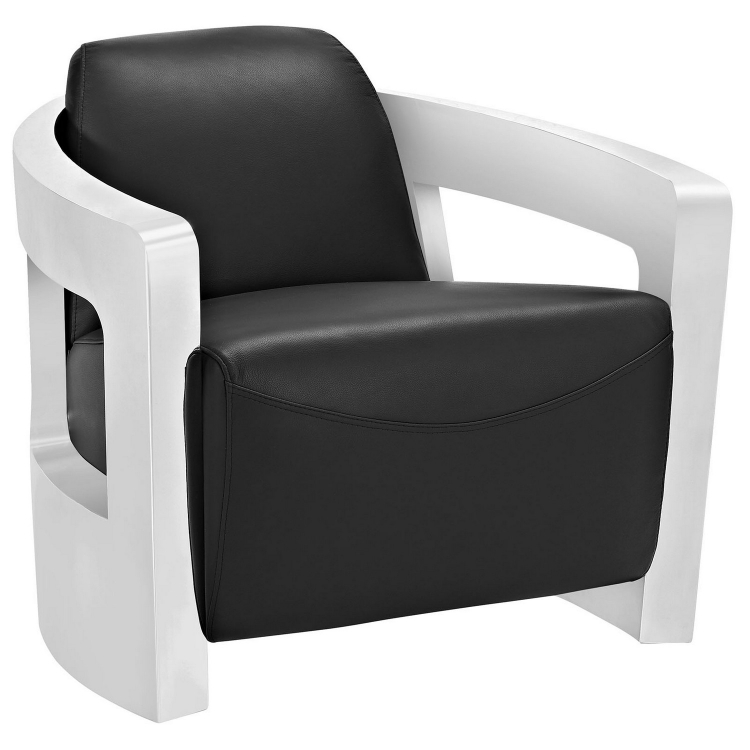 Trip Leather Lounge Chair - Black