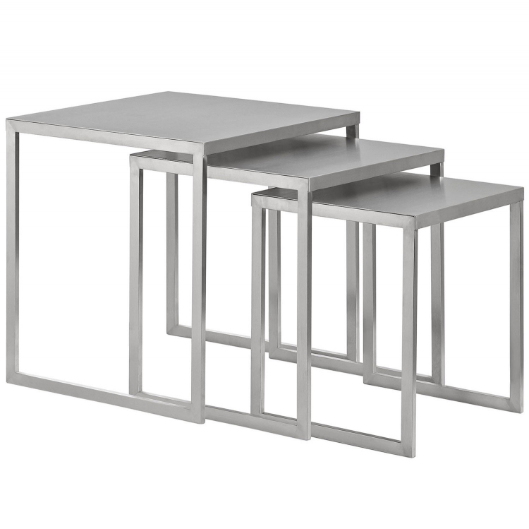 Rail Stainless Steel Nesting Table - Silver