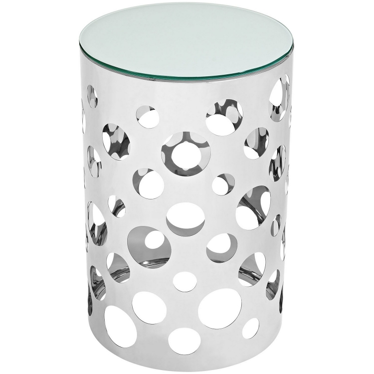 Etch Stainless Steel Side Table - Silver