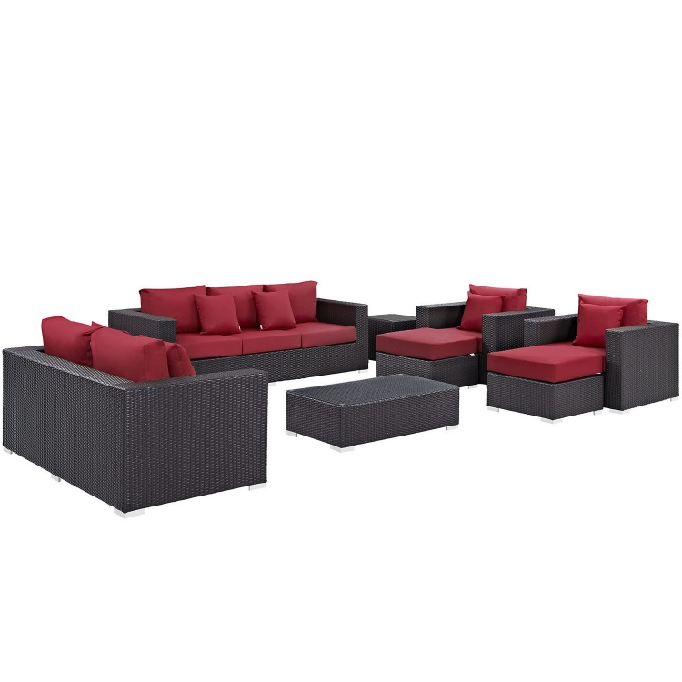 Convene 9 Piece Outdoor Patio Sofa Set - Espresso Red