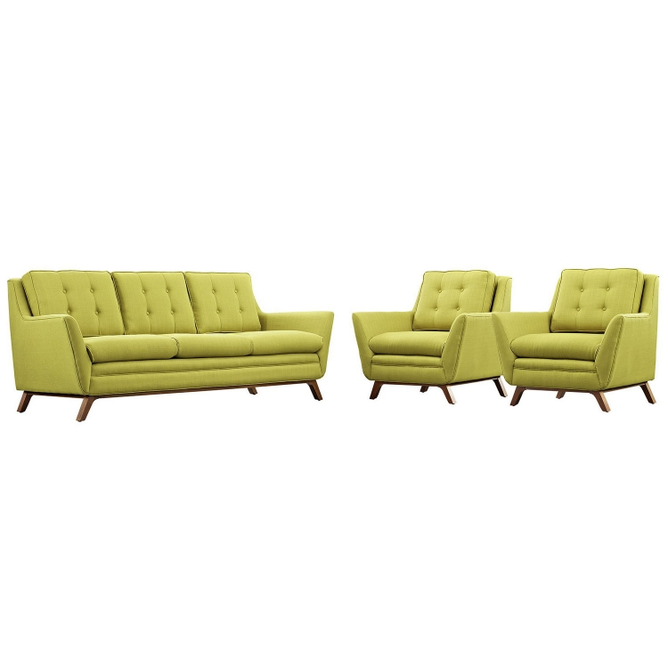 Beguile 3 Piece Fabric Living Room Set - Wheatgrass