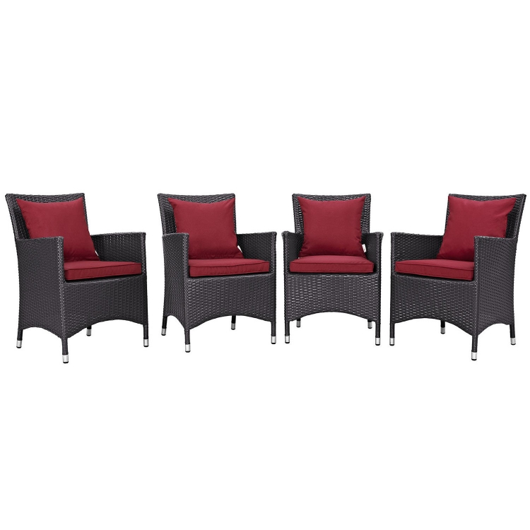 Convene 4 Piece Outdoor Patio Dining Set - Espresso Red - Modway Outdoor Table At Homelement