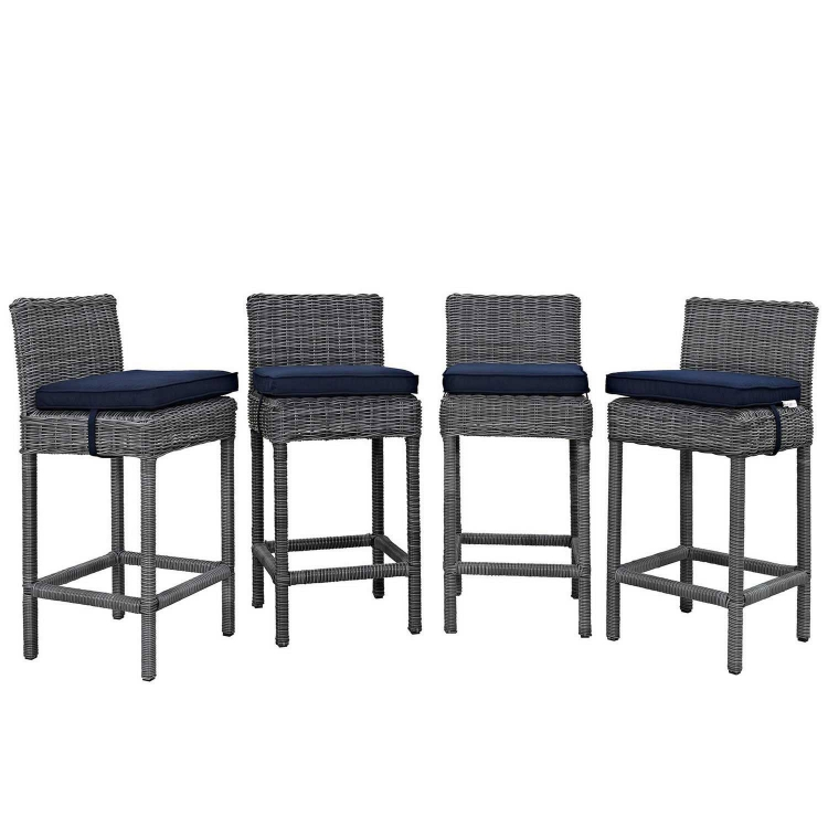 Summon Bar Stool Outdoor Patio Sunbrella Set of 4 - Canvas Navy