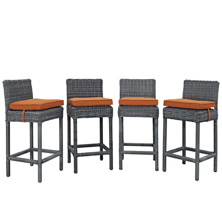 Summon Bar Stool Outdoor Patio Sunbrella Set of 4 - Canvas Tuscan