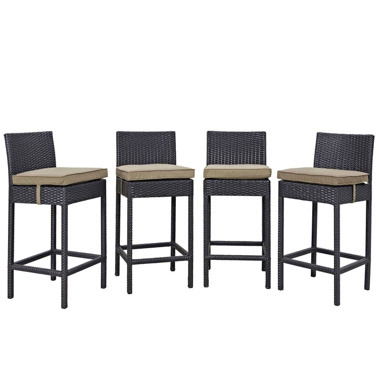 Convene 4 Piece Outdoor Patio Pub Set - Espresso Mocha