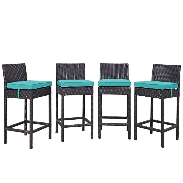 Convene 4 Piece Outdoor Patio Pub Set - Espresso Turquoise