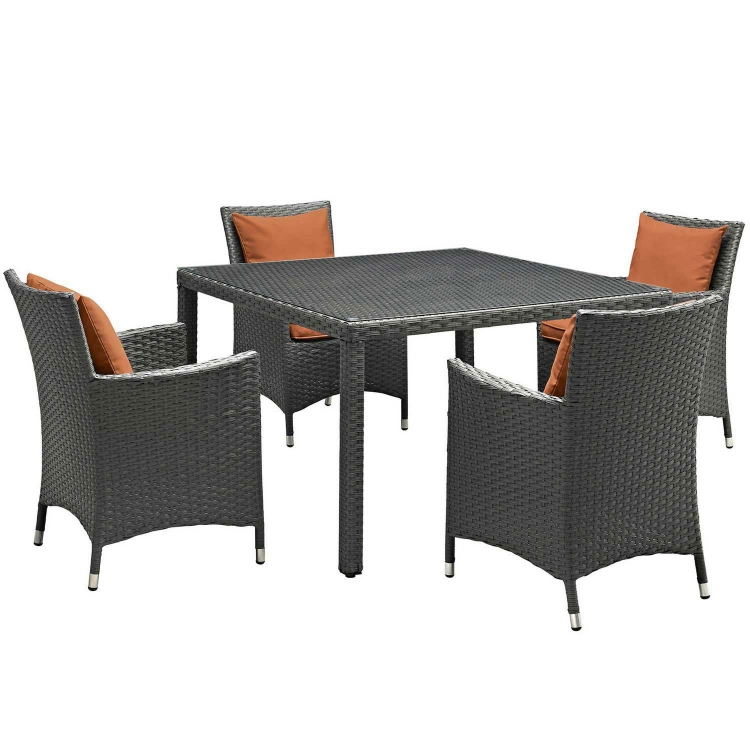 Sojourn 5 Piece Outdoor Patio Sunbrella Dining Set - Canvas Tuscan
