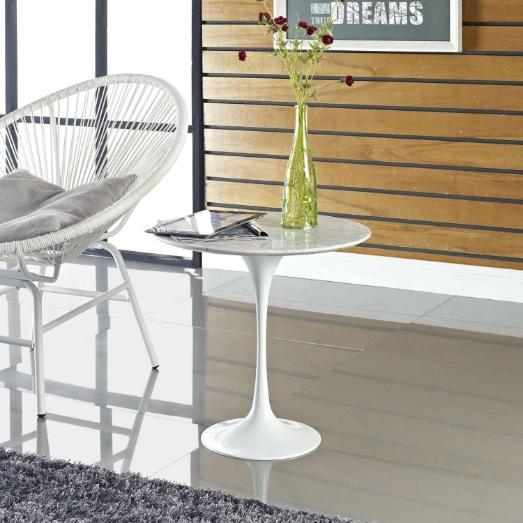 Lippa 20 Marble Side Table - White