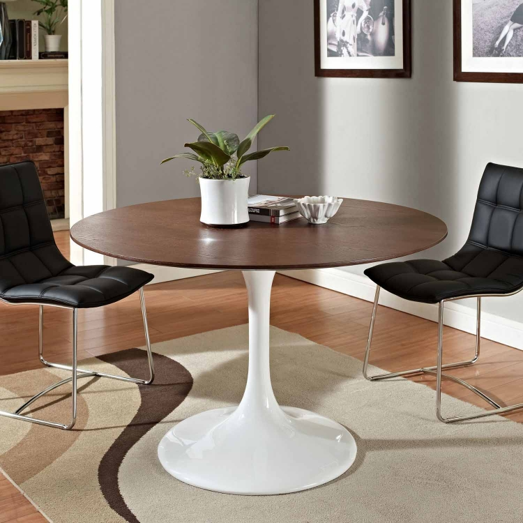 Lippa 48 Walnut Dining Table - White