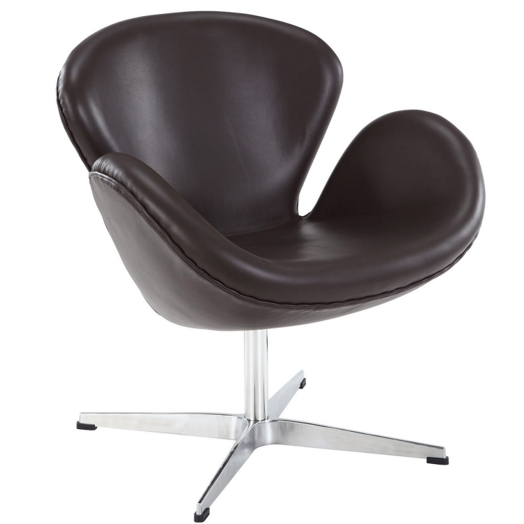 Wing Leather Lounge Chair - Brown