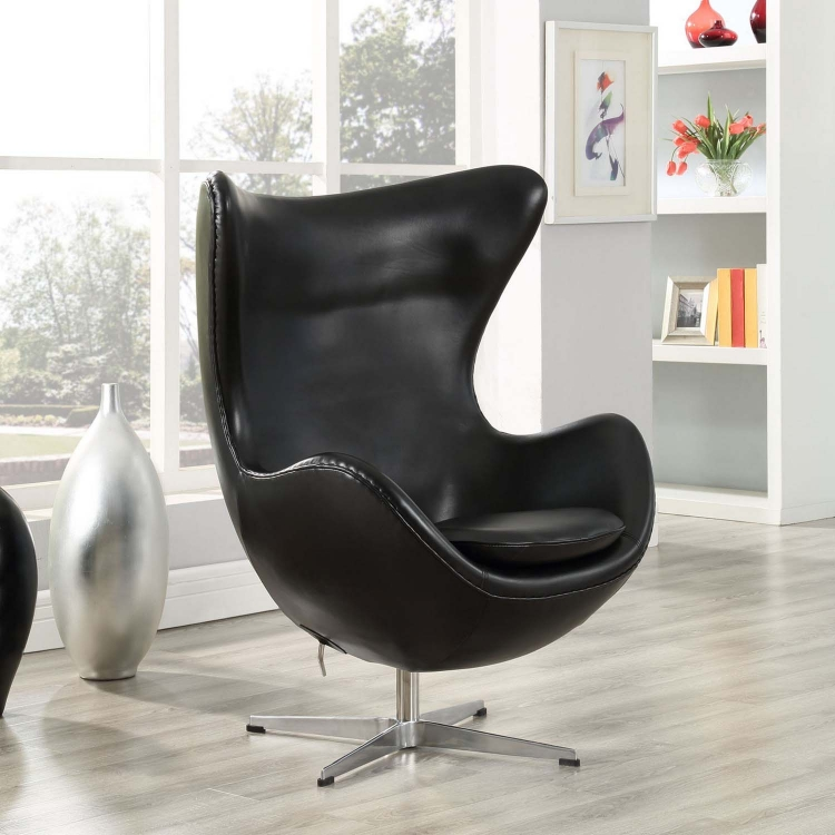 Glove Leather Lounge Chair - Black