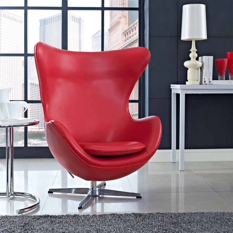 Glove Leather Lounge Chair - Red