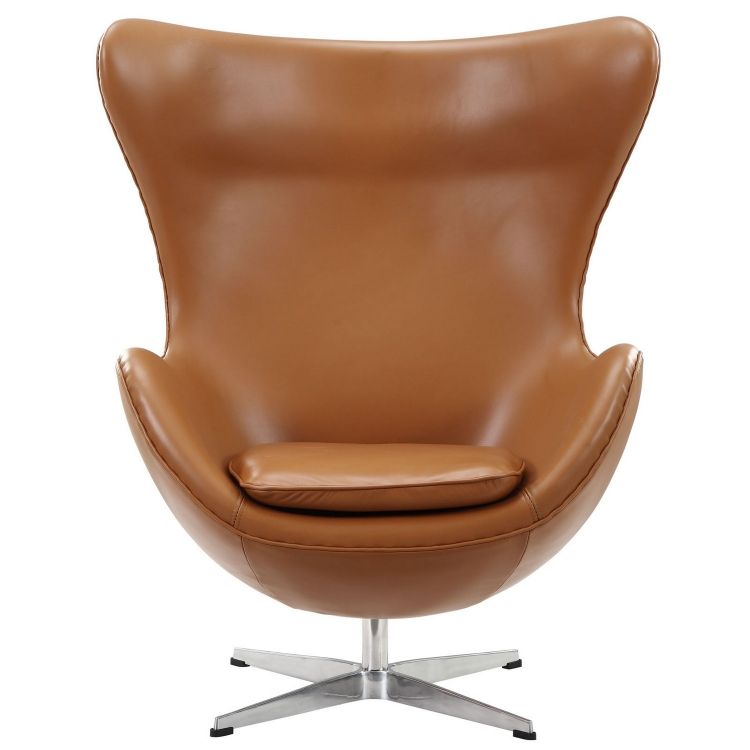 Glove Leather Lounge Chair - Terracotta