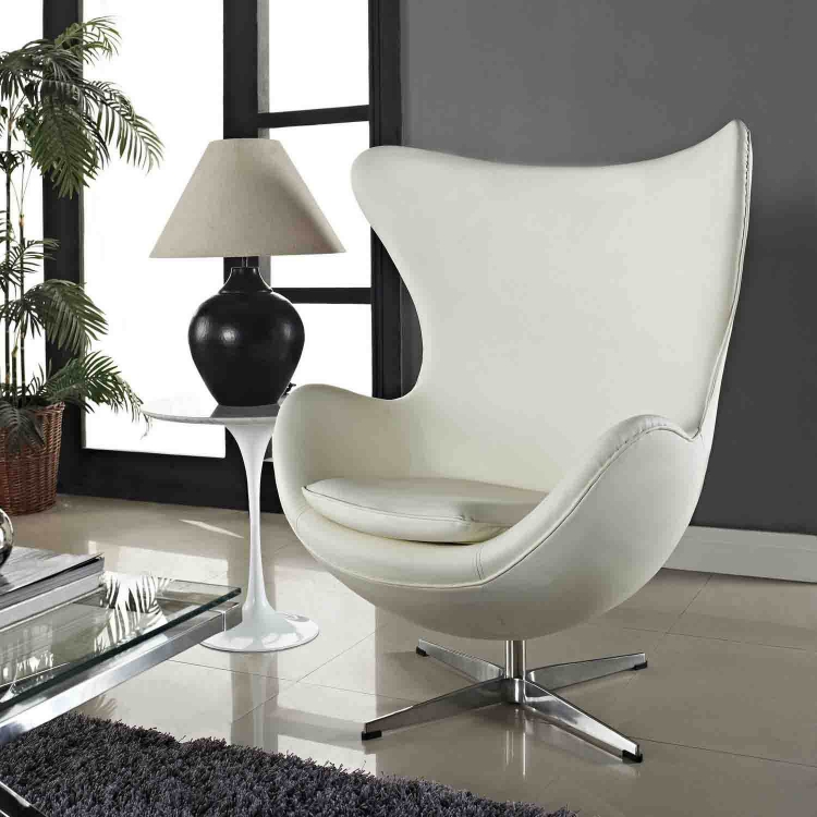 Glove Leather Lounge Chair - White