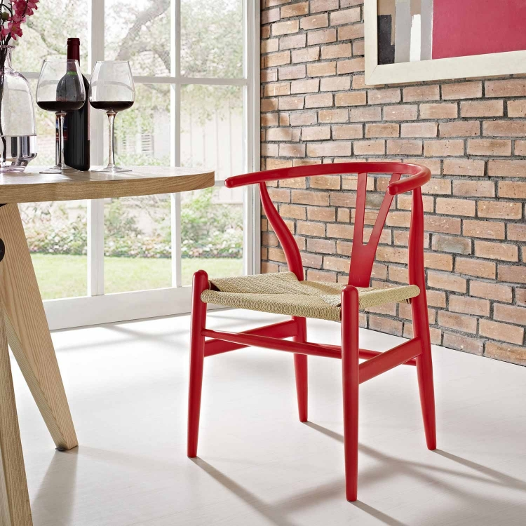 Amish Dining Wood Armchair - Red