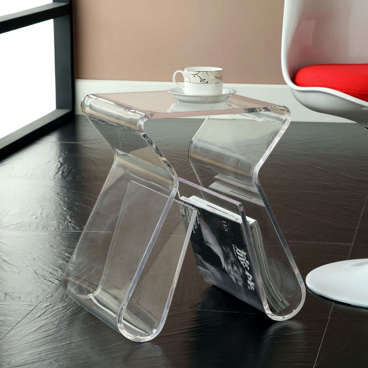 Magazine Acrylic Side Table - Clear