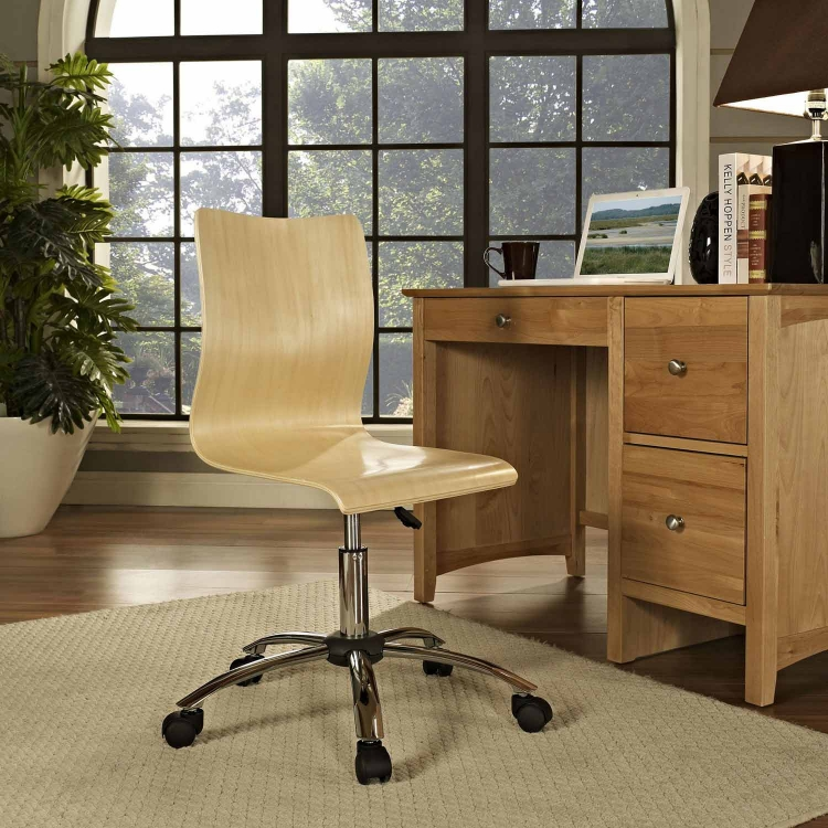 Fashion Armless Office Chair - Natural