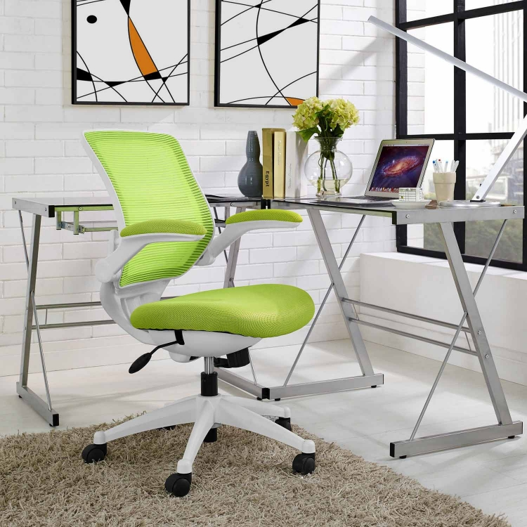 Edge White Base Office Chair - Green