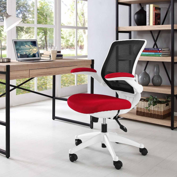 Edge White Base Office Chair - Red